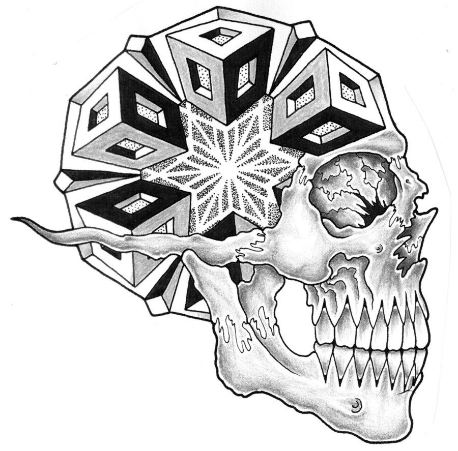 900x887 Geometric Side View Skull By Jontoogood