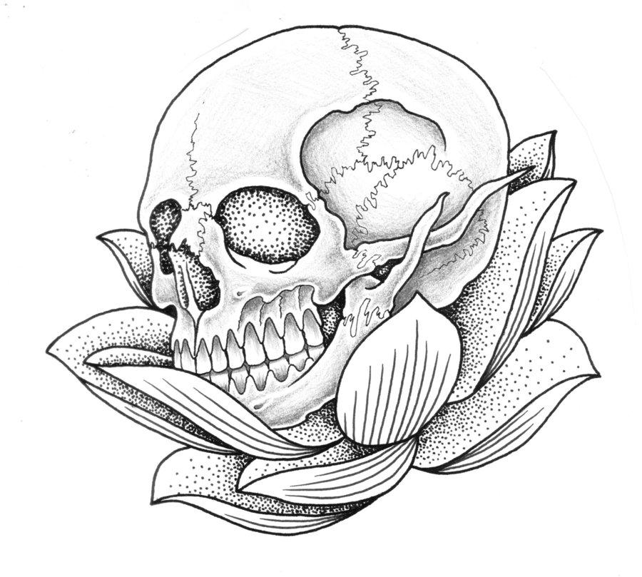 900x809 Lotus And Skull By Jontoogood