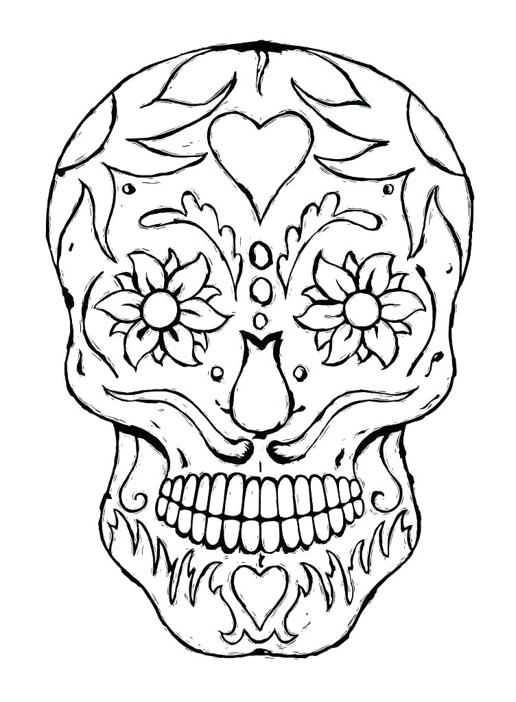 752x1024 Good Flaming Skull Coloring Pages Online Drawing For Kids How