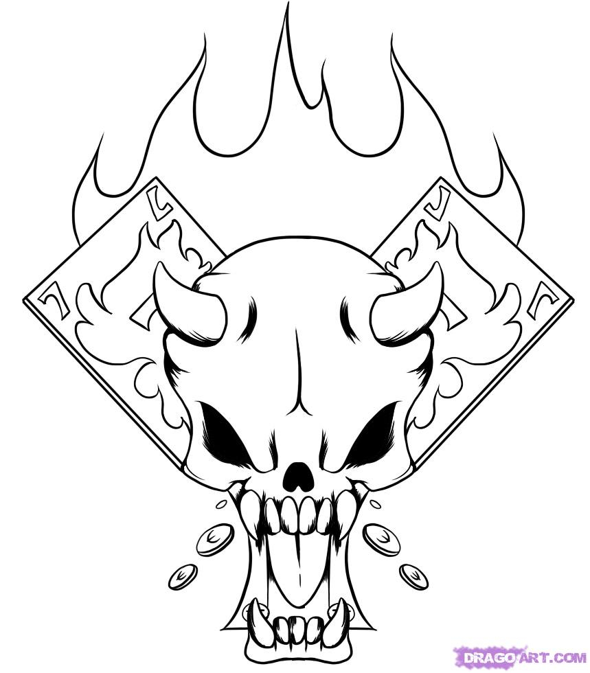 859x980 How To Draw A Flaming Skull Step By Step
