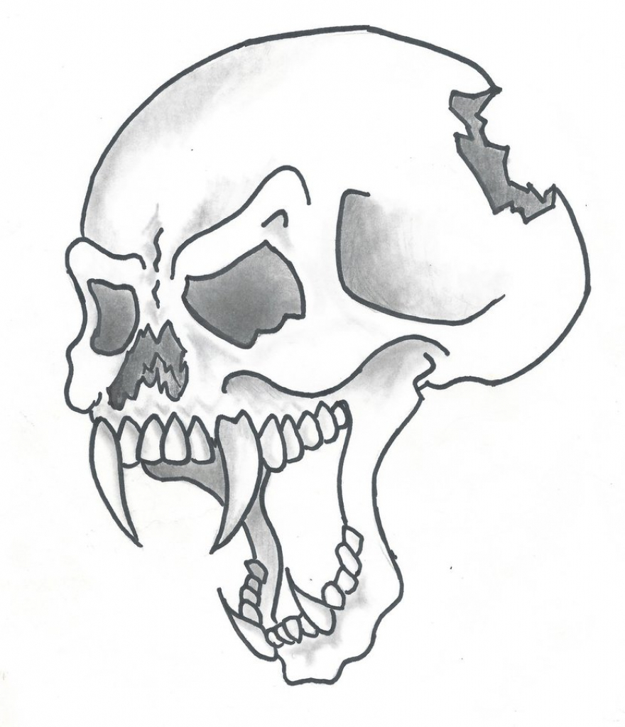 880x1024 Simple Skull Drawing How To Draw A Traditional Skull Tattoo Step