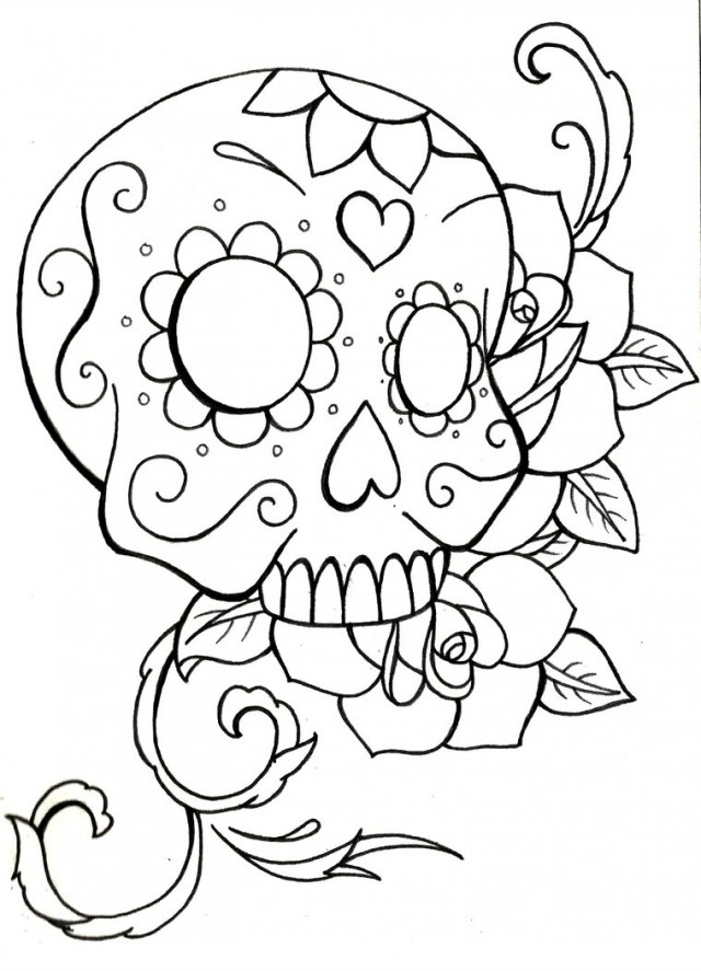 640x887 Sugar Skull Coloring Pages
