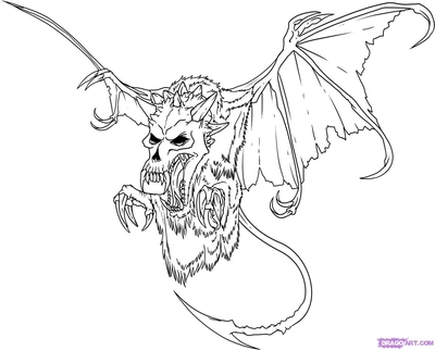 400x322 Dark Scary Coloring Pages How To Draw Demon Skulls Step By Pop