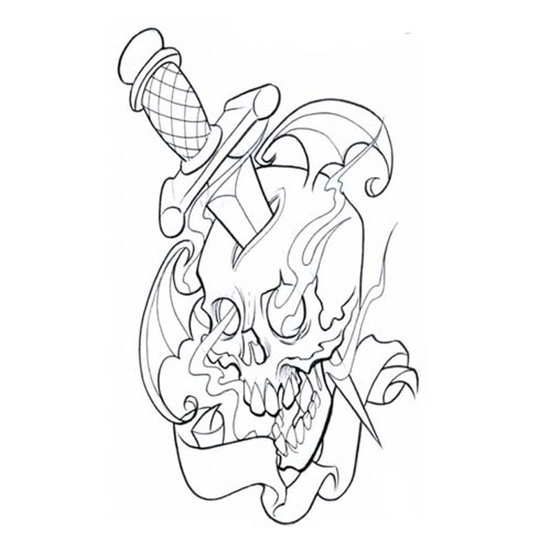 Dagger Tattoo Outline: Skull Tattoos Drawing At GetDrawings