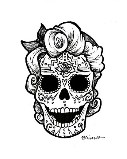 Skull With Bandana Drawing
