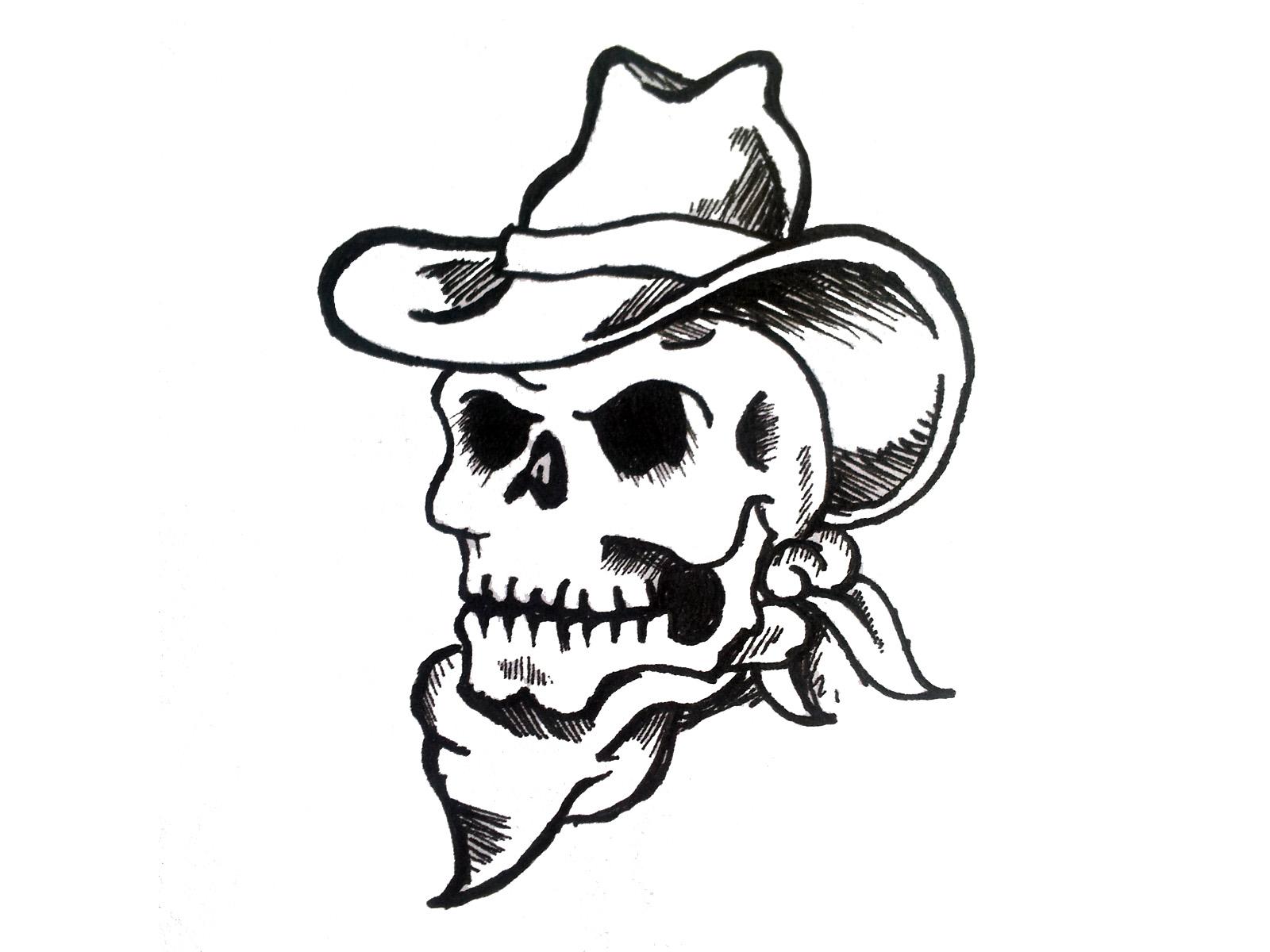 1600x1200 Collection Of Cowboy Skulls Tattoo Design