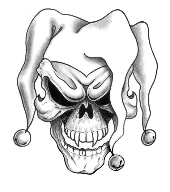 550x620 Collection Of Wicked Clown Skull Tattoo Designs