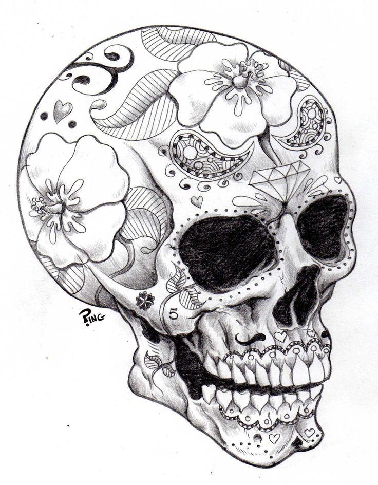 736x944 Drawn Ssckull Candy Skull