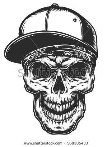 360x470 Illustration Of The Skull In Bandana And Baseball Cap. Monochrome