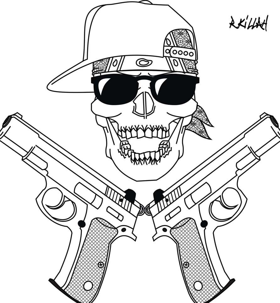 891x964 My Gangsta Skull Art Attack