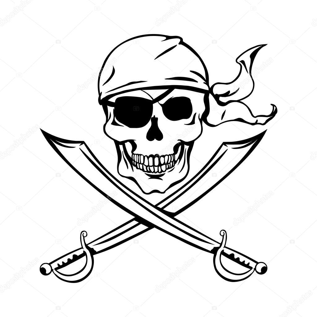 1024x1024 Pirate Skull Stock Vector Nikiteev