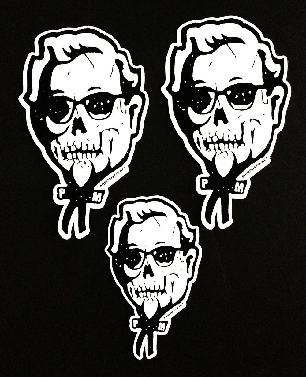 1000x1233 Print Mafia Skull Sanders Die Cut Stickers