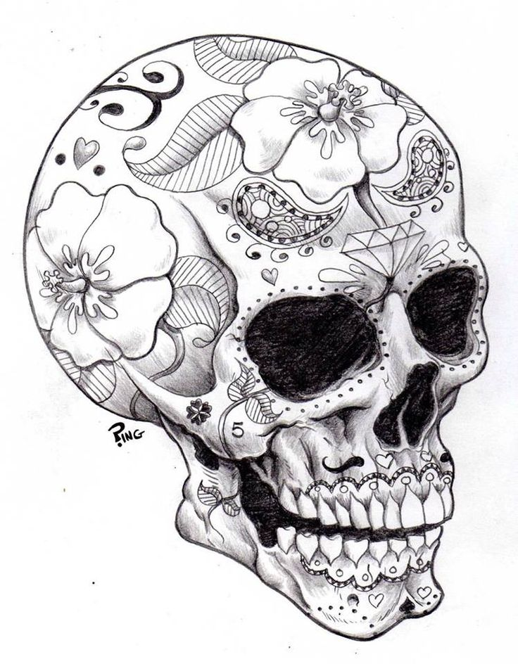 736x944 Skull Christmas Drawings Festival Collections