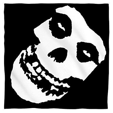 385x385 Misfits Fiend Skull Bandana White 22x22 Clothing