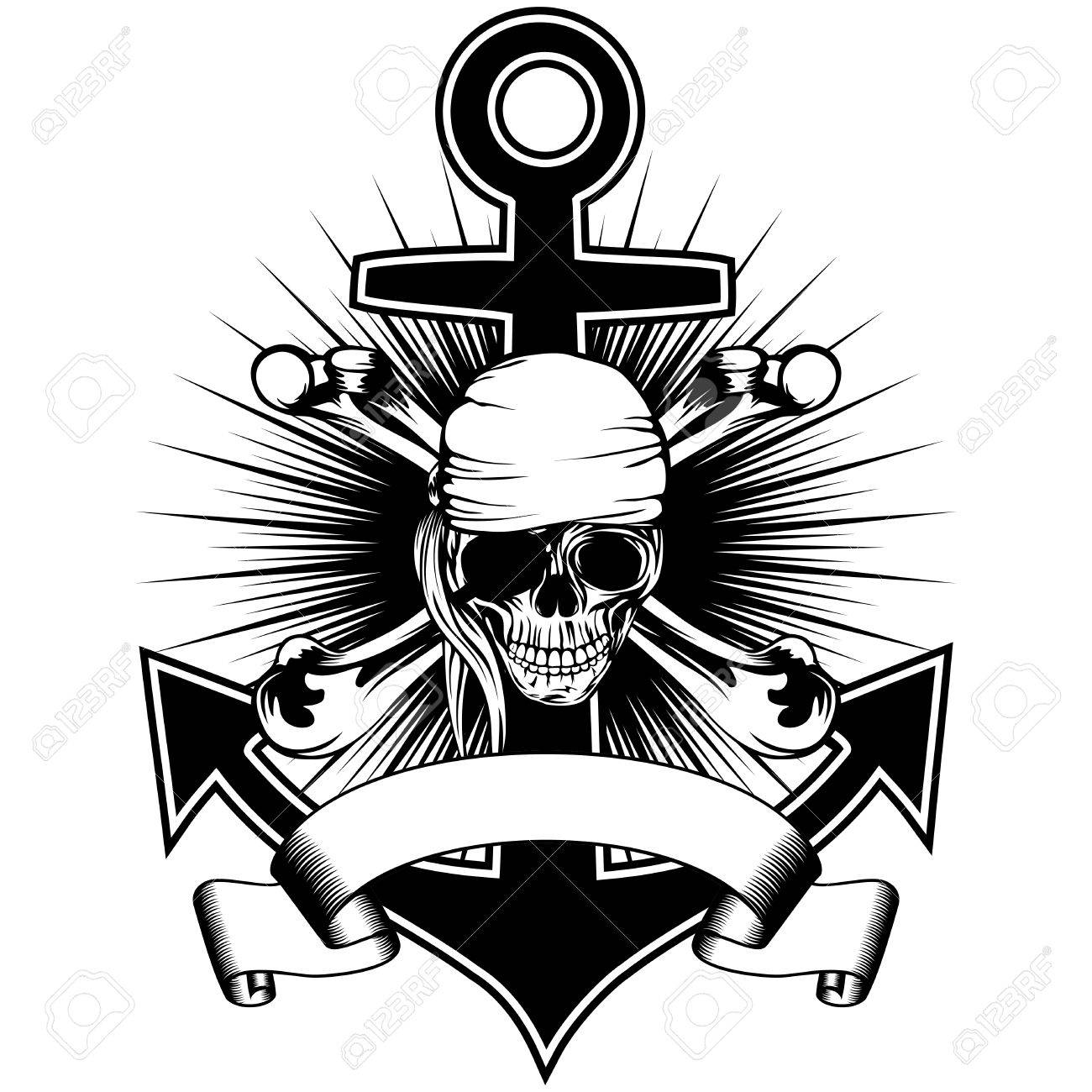 1300x1300 Vector Illustration Pirate Insignia Skull In Bandana With Crossed