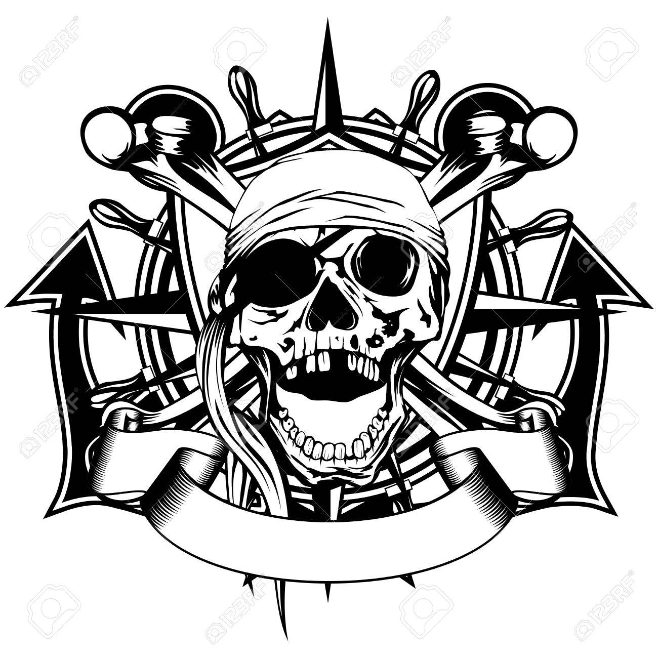 1300x1300 Vector Illustration Pirate Symbol Skull With Bandana, Crossed