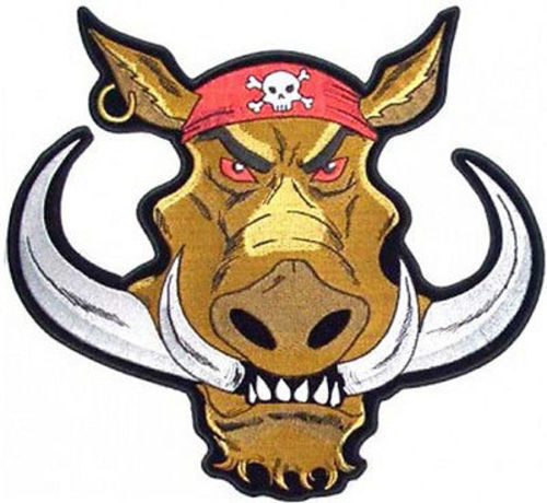 500x460 Biker Hog Hawg Pig Funny Bandana Skull Earing Mc Motorcycle Back