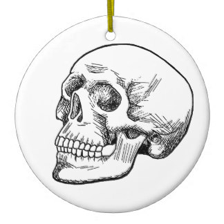 324x324 Black White Skull Drawing And Holiday Decorations Amp Christmas