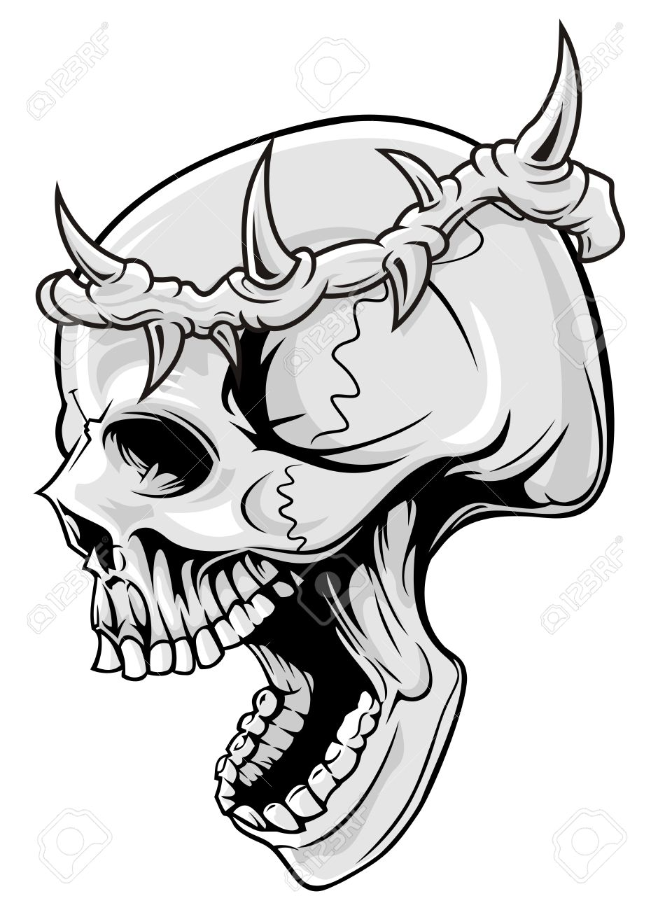 940x1300 Skull With Crown Of Thorn Royalty Free Cliparts, Vectors,