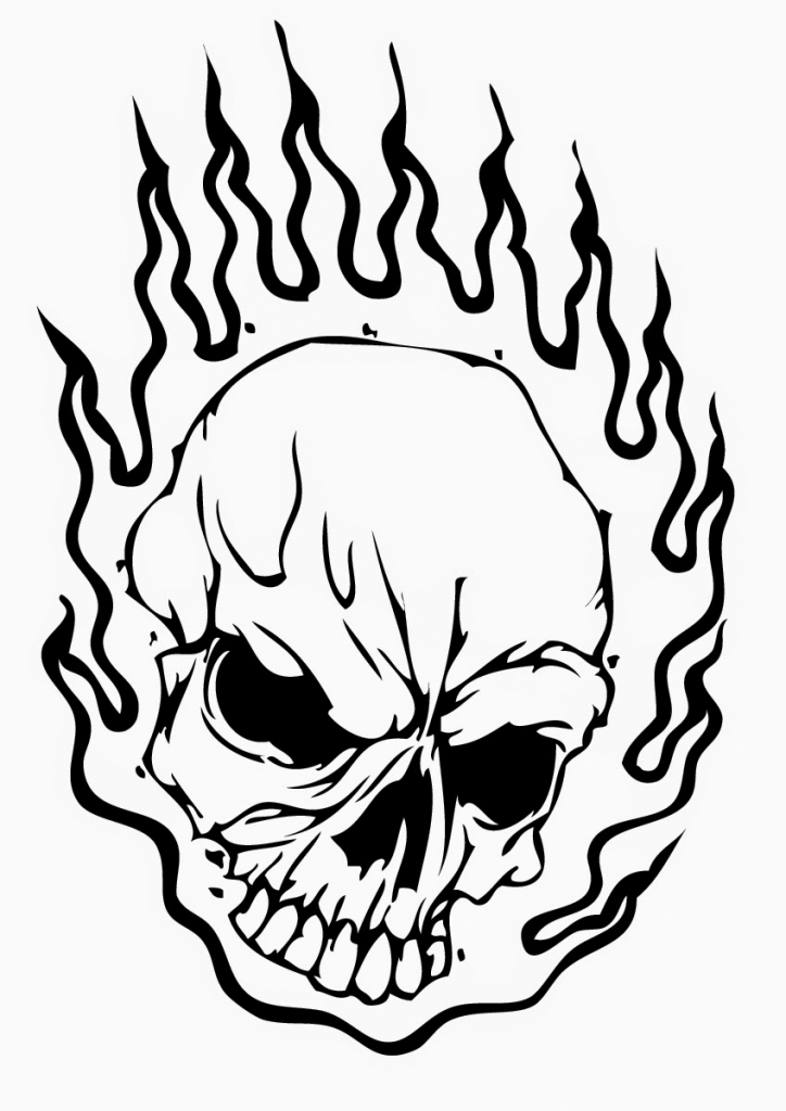 724x1024 Flaming Skulls Coloring Pages. Flaming Skull Coloring Page Within