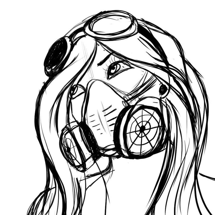 894x894 Graffiti Characters Gas Mask Skull Gas Mask Girl By ~0saphex0