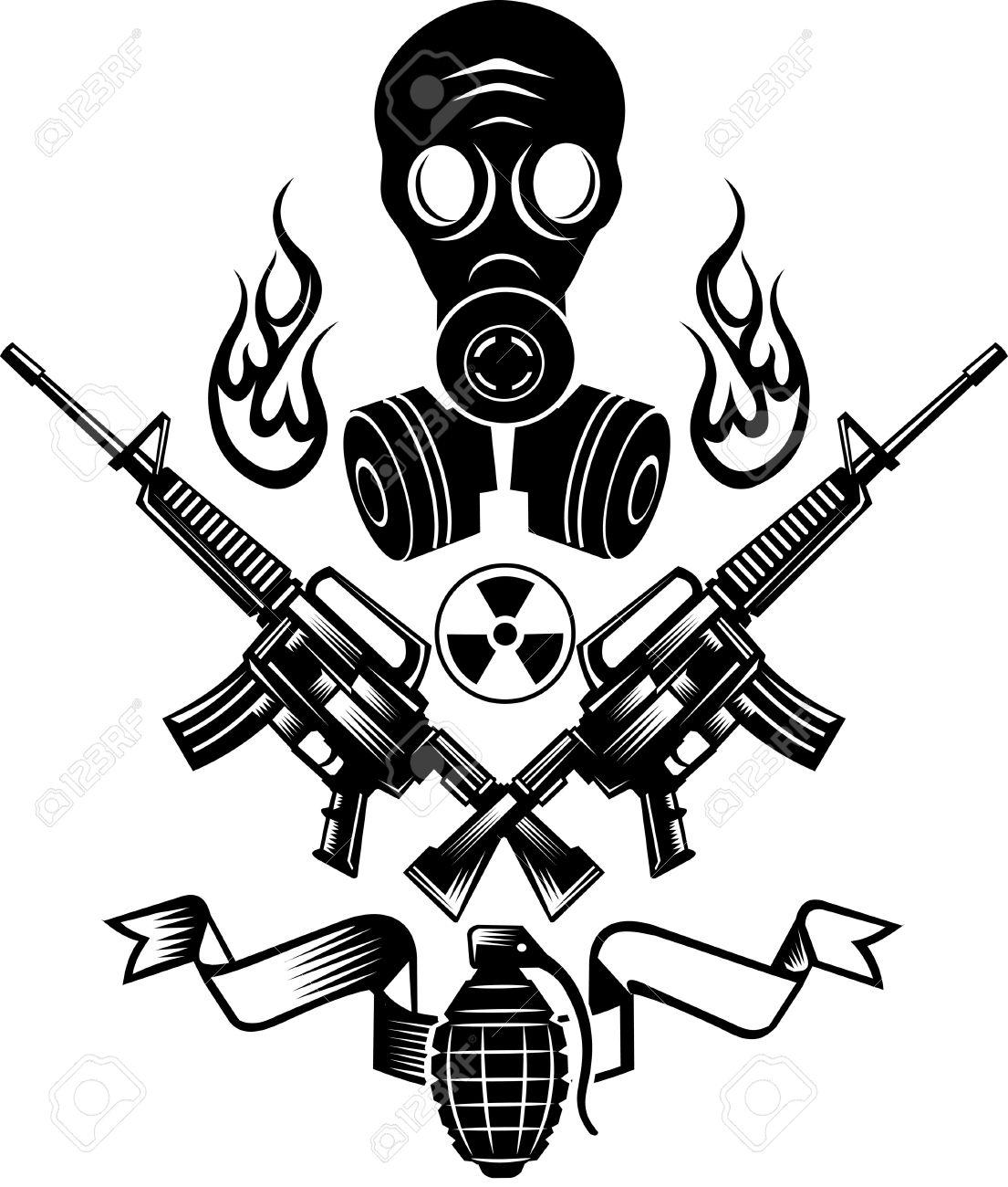 1105x1300 Guns And Grenade Bomb. Tattoo Combat Gas Mask Royalty Free