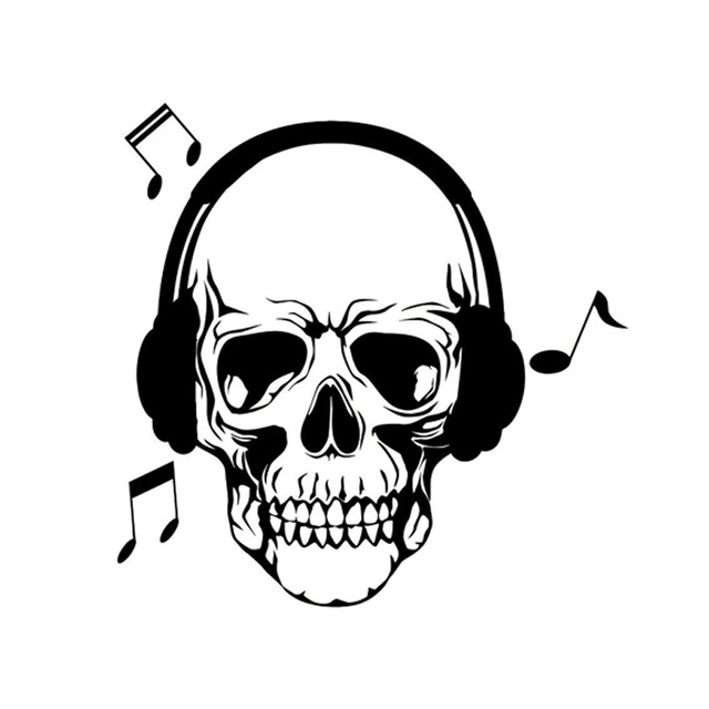 Skull With Headphones Drawing