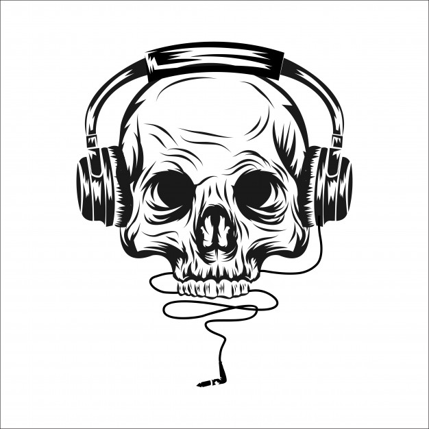 626x626 Head Skull With Ear Phone Vector Illustration Vector Premium