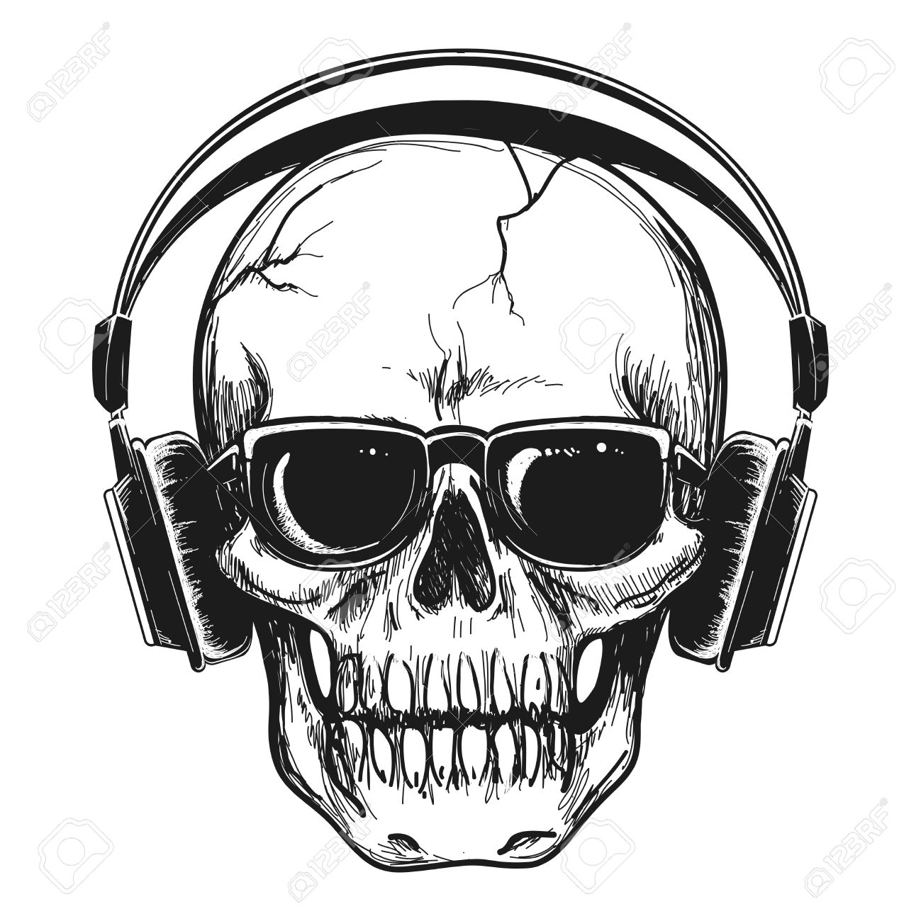 1299x1300 Human Skull With Headphones And Sunglasses Enjoying Music Vector
