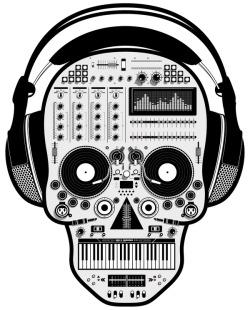 250x310 Illustration Art Music Design Halloween Skull Dj Skeleton