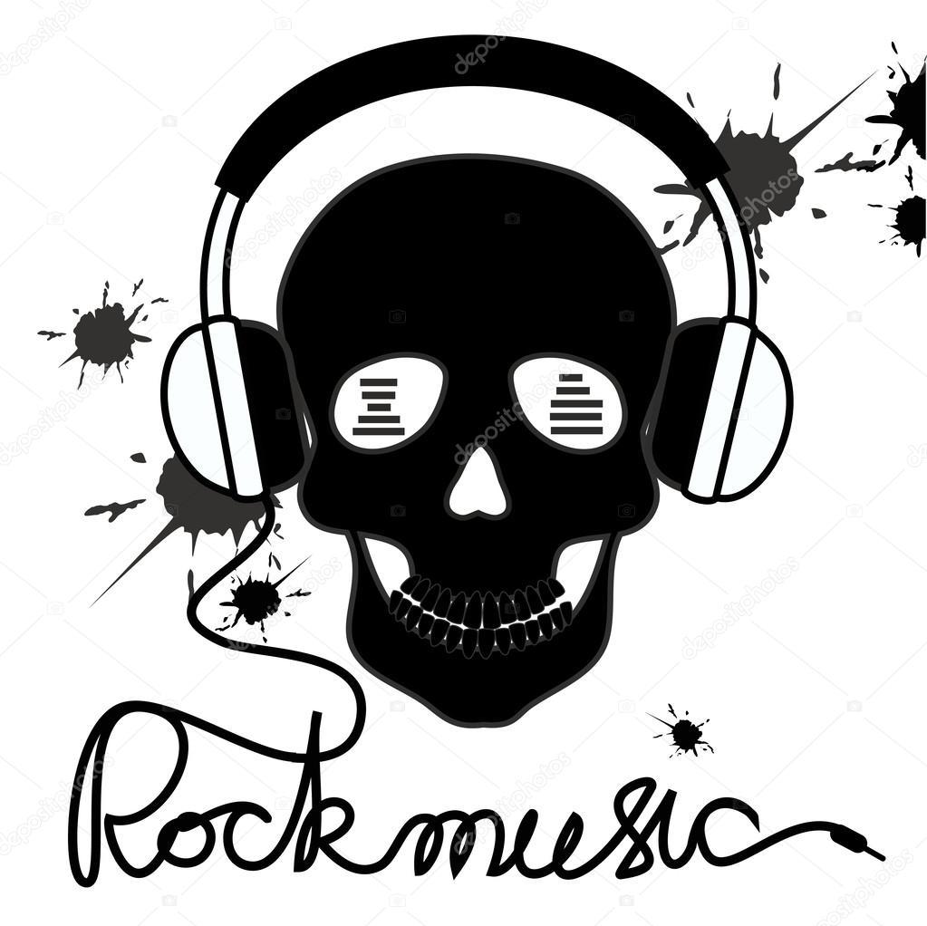 1023x1022 Illustration With Skull And Headphones Stock Vector Annykos