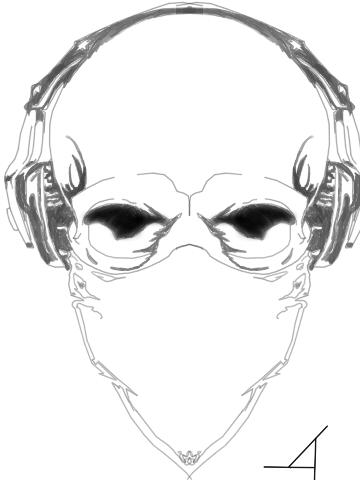 360x480 Ninja Skull With Headphones Sketch By Djakal12