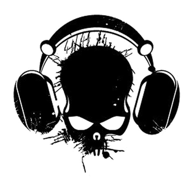 640x640 17.6cm16.8cm Interesting Audio Skull Headphones Cord Silhouette