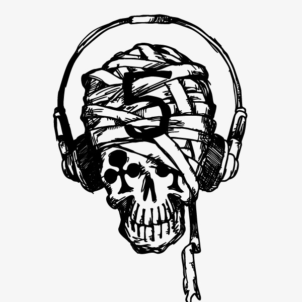 600x600 Skull,music Headphones, Skull, Music Headphones, Skull Vector Png