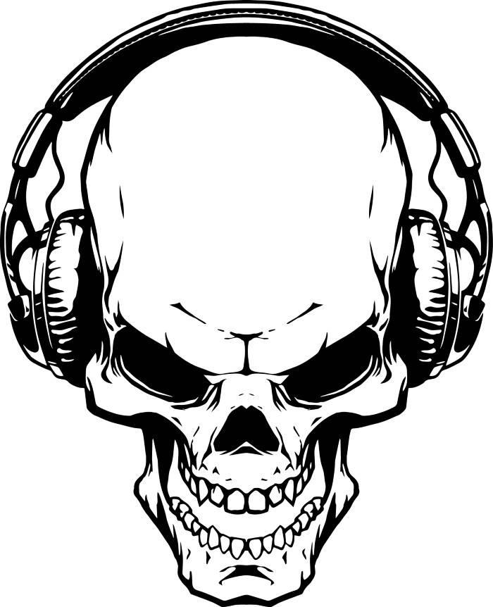 700x862 Skull Headphones 1 Music Wave Listening Wireless Skeleton
