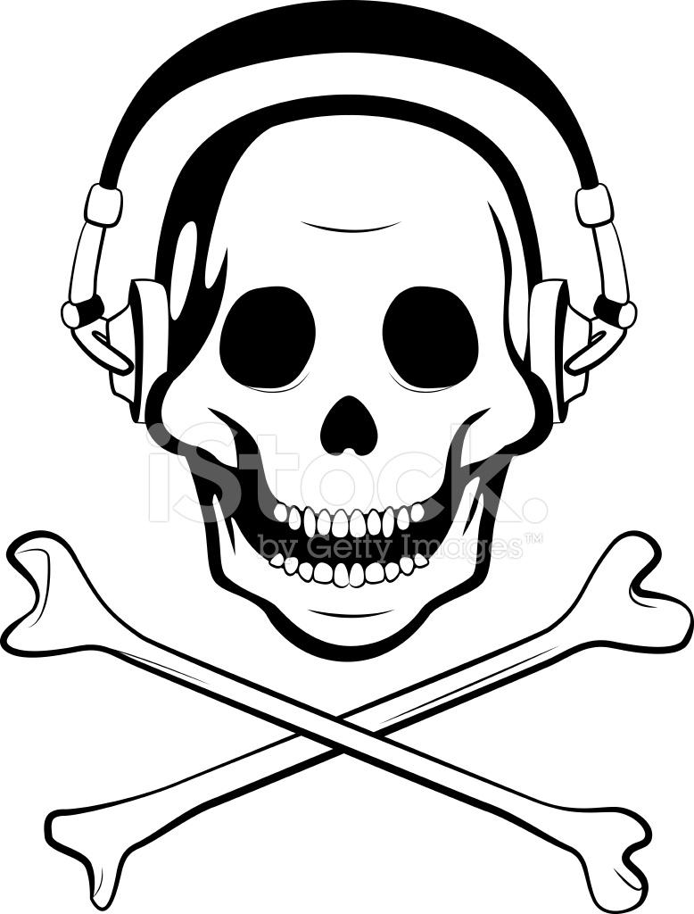 778x1024 Skull With Headphones Stock Vector