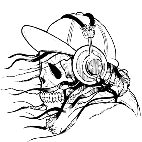 480x480 Skull In Cap And Headphones Coloring Page Free Printable