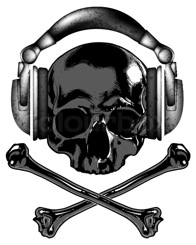 638x800 Skull In Headphones And Crossbones