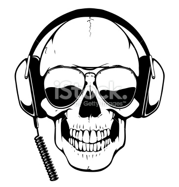 364x380 Skull With Headphones And Aviator Glasses Vector Art, Art