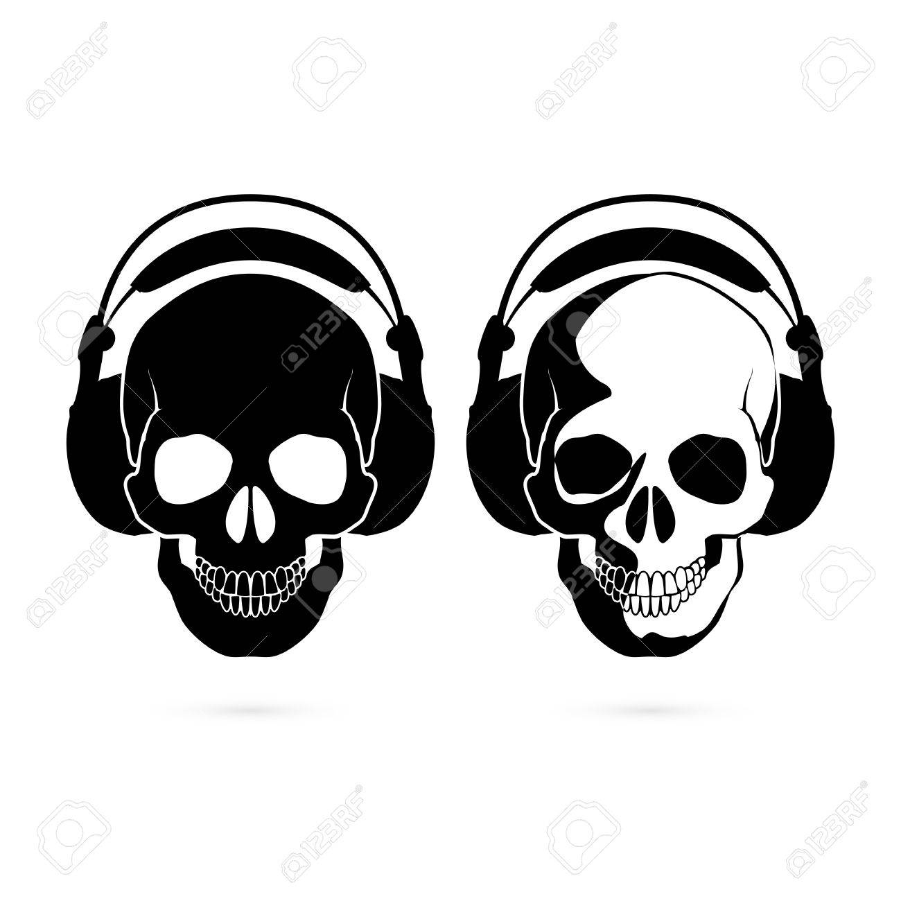 1300x1300 Two Black And White Skulls With Headphone. Music Fan Royalty Free