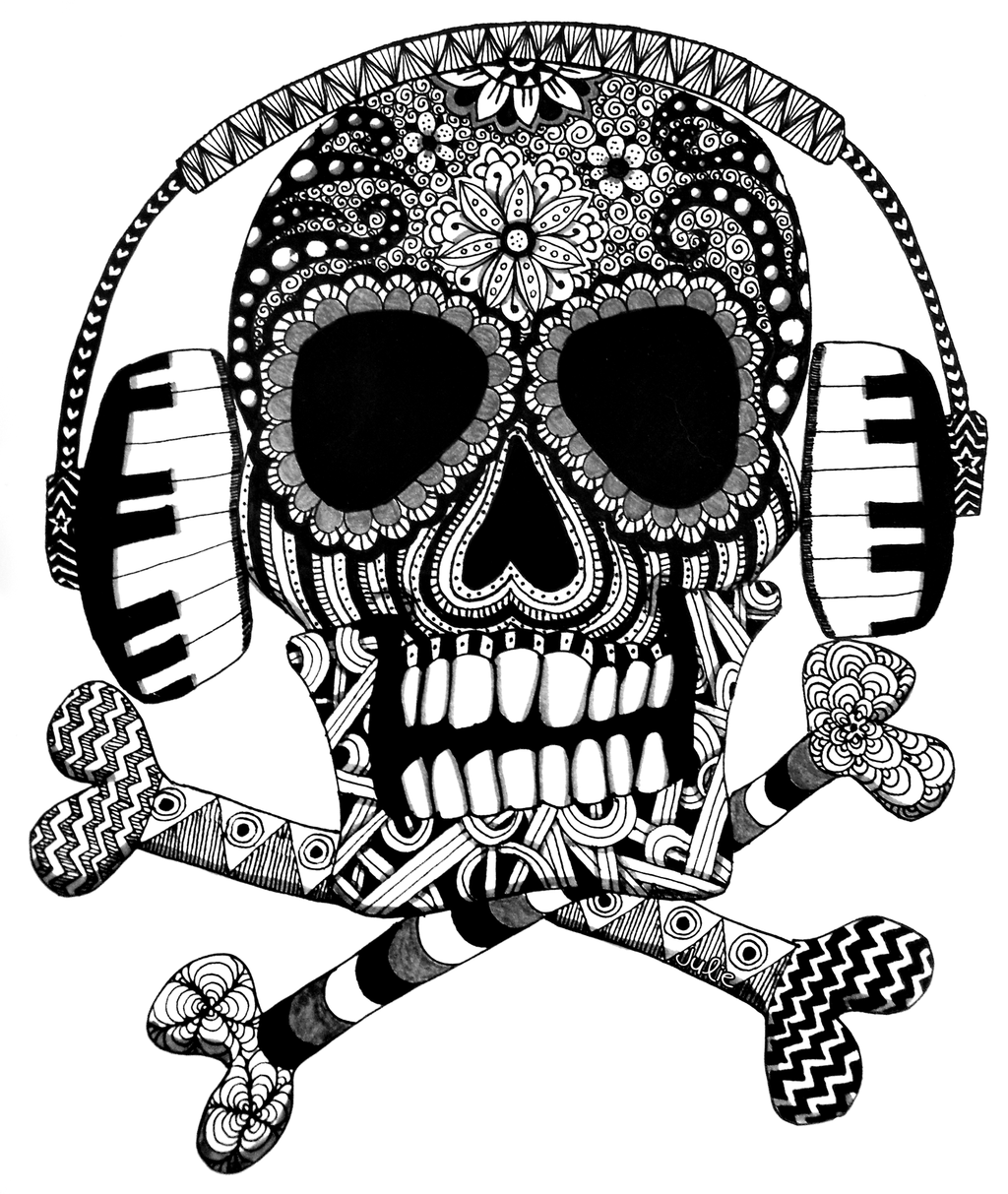 1024x1213 Zentangle Skull With Headphones By Starliteyes420