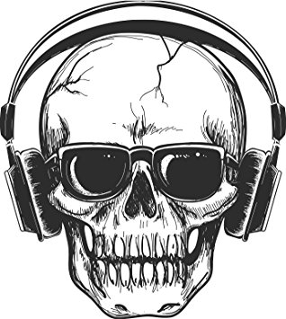 318x355 Black And White Sketch Cracked Skull With Headphones