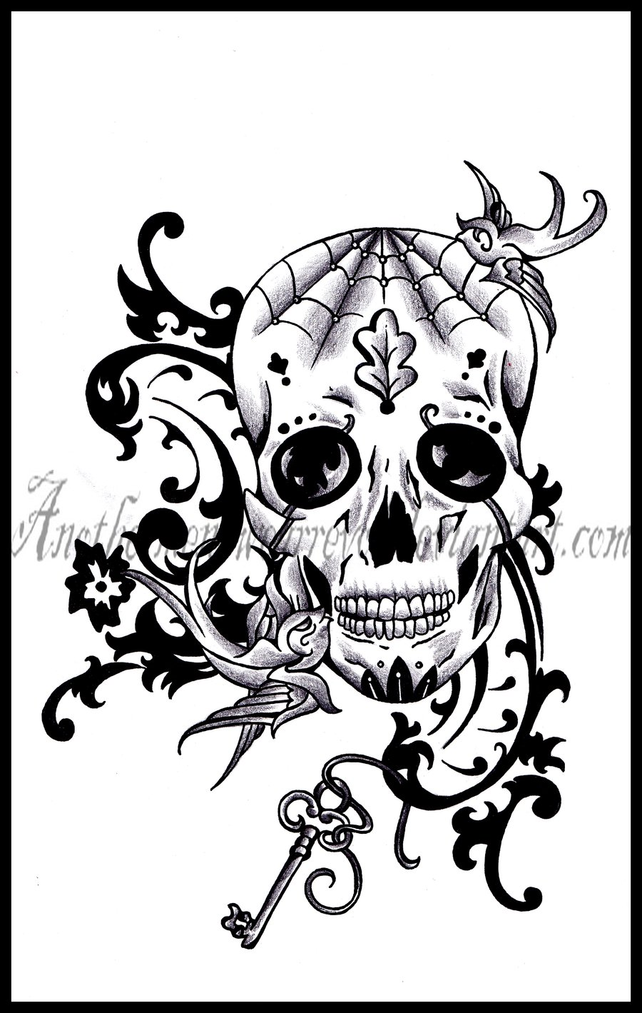 900x1419 Collection Of Sugar Skull With Headphones Tattoo Design