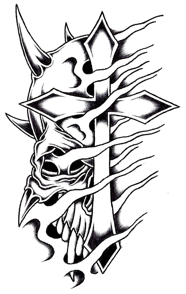 712x1123 Horned Cross Skull By Stark Sketches