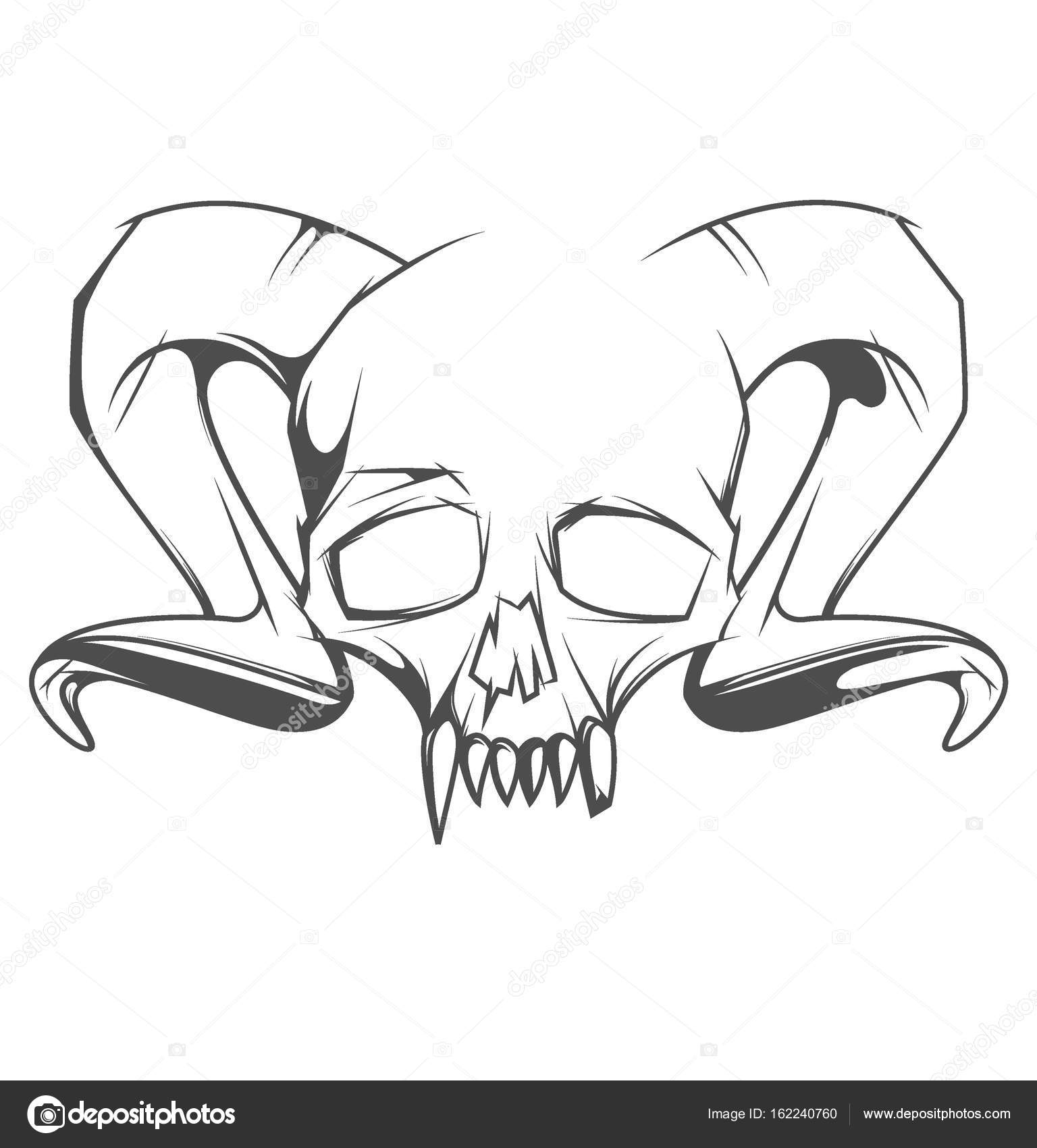 1536x1700 Human Skull With Horns And Sharp Teeth Stock Vector