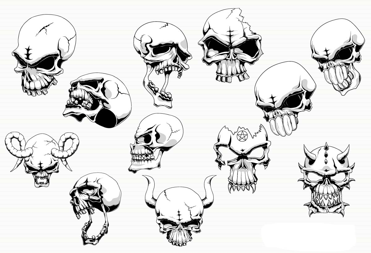 1200x819 Angry Skull With Horns Vector Free Download