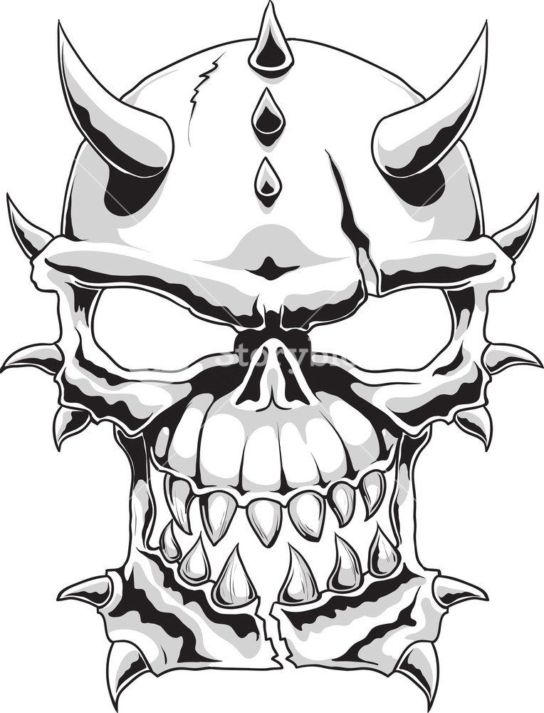 764x1000 Skull Vector Element With Horns Royalty Free Stock Image
