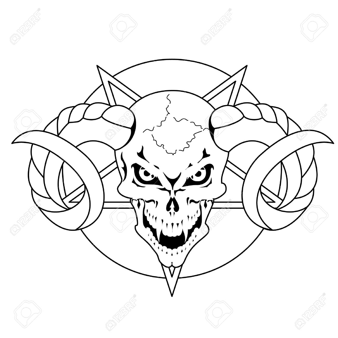1300x1300 Skull With Horns Pentagram Royalty Free Cliparts, Vectors,