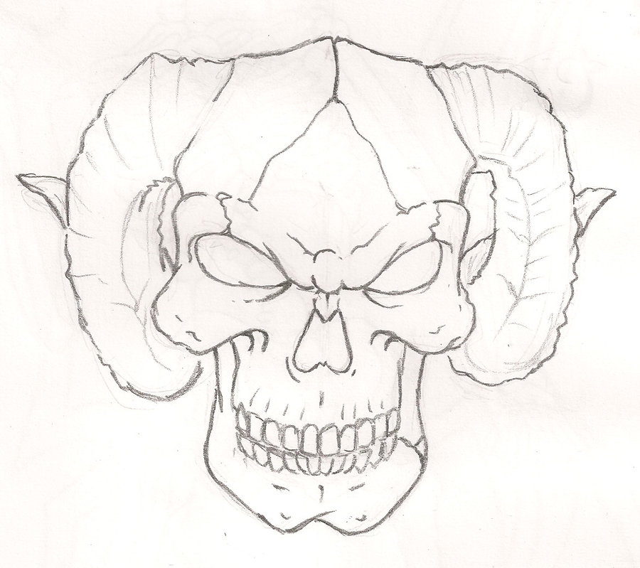 900x799 Skull With Horns By Mr P P On @