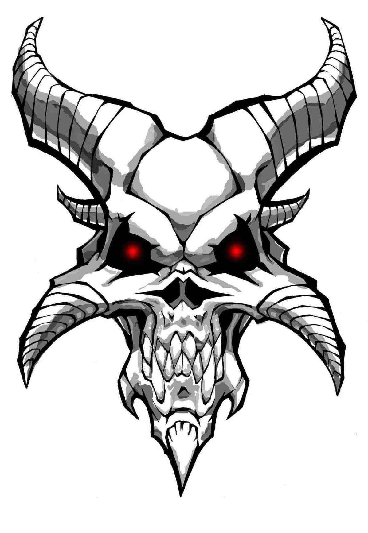 1198x1737 Skull Drawings With Horns
